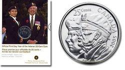 25 CENTS -  ANNÉE DES ANCIENS COMBATTANTS - PIÈCE PREMIER JOUR OFFICIELLE -  PIÈCES DU CANADA 2005