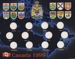 25 CENTS COMMEMORATIFS 1999 -  RANGEMENT EN CARTON POUR LES PIÈCES DE 1999