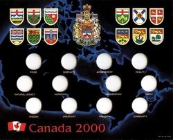 25 CENTS COMMEMORATIFS 2000 -  CARTON POUR RANGER LES DOUZE 25 CENTS DE 2000 - CARTE BLEU