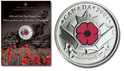 25 CENTS -  LE COQUELICOT - PIÈCE PREMIER JOUR OFFICIELLE -  PIÈCES DU CANADA 2004