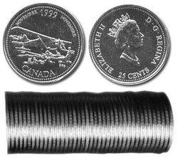 25 CENTS -  ROULEAU ORIGINAL DE 25 CENTS 1999 - NOVEMBRE -  PIÈCES DU CANADA 1999 11