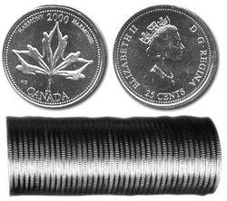 25 CENTS -  ROULEAU ORIGINAL DE 25 CENTS 2000 - HARMONIE -  PIÈCES DU CANADA 2000 06