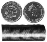 25 CENTS -  ROULEAU ORIGINAL DE 25 CENTS 2000 - LIBERTE -  PIÈCES DU CANADA 2000 11