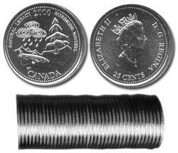 25 CENTS -  ROULEAU ORIGINAL DE 25 CENTS 2000 - PATRIMOINE NATUREL -  PIÈCES DU CANADA 2000 05