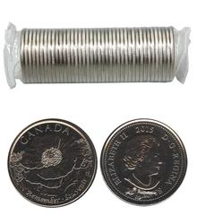 25 CENTS -  ROULEAU ORIGINAL DE 25 CENTS 2015 - AU CHAMP D'HONNEUR -  PIÈCES DU CANADA 2015