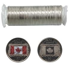 25 CENTS -  ROULEAU ORIGINAL DE 25 CENTS 2015 - DRAPEAU CANADIEN -  PIÈCES DU CANADA 2015