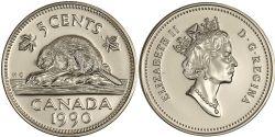 5 CENTS -  5 CENTS 1990 - BRILLANT INCIRCULÉ (BU) -  PIÈCES DU CANADA 1990