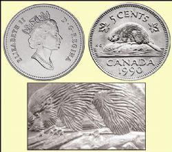 5 CENTS -  5 CENTS 1990 - VARIÉTÉ CASTOR AU VENTRE LISSE (BARE BELLY) - BRILLANT INCIRCULÉ (BU) -  PIÈCES DU CANADA 1990
