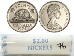 5 CENTS -  ROULEAU ORIGINAL DE 5 CENTS 1976 -  PIÈCES DU CANADA 1976