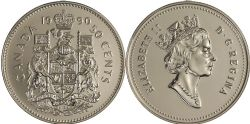 50 CENTS -  50 CENTS 1990 - BRILLANT INCIRCULÉ (BU) -  PIÈCES DU CANADA 1990