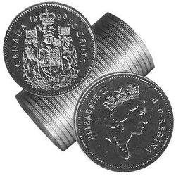 50 CENTS -  ROULEAU ORIGINAL DE 50 CENTS 1990 -  PIÈCES DU CANADA 1990