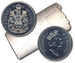 50 CENTS -  ROULEAU ORIGINAL DE 50 CENTS 1991 -  PIÈCES DU CANADA 1991