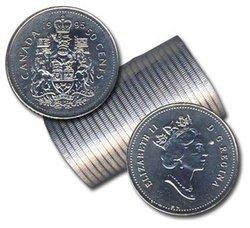 50 CENTS -  ROULEAU ORIGINAL DE 50 CENTS 1995 -  PIÈCES DU CANADA 1995