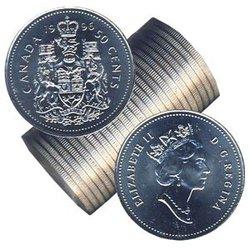 50 CENTS -  ROULEAU ORIGINAL DE 50 CENTS 1996 -  PIÈCES DU CANADA 1996