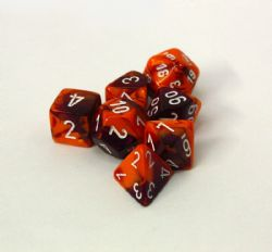 7 DÉS, VIOLET/ORANGE ET BLANC -  LAB DICE