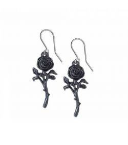 ALCHEMY GOTHIC -  ROMANCE OF THE BLACK ROSE EARRINGS