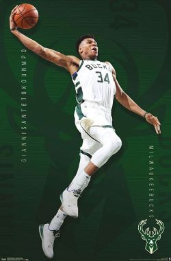 BASKETBALL -  AFFICHE - GIANNIS ANTETOKOUNMPO (56 CM X 86.5 CM) -  BUCKS DE MILWAUKEE
