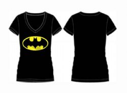 BATMAN -  T-SHIRT LOGO - NOIR - COL EN V (FEMME)