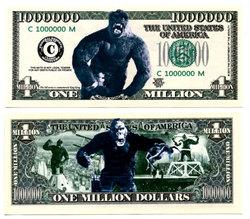 BILLETS HUMORISTIQUES -  KING KONG - BILLET D'UN MILLION DE DOLLARS DES ETATS-UNIS