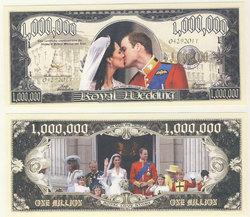 BILLETS HUMORISTIQUES -  MARIAGE ROYAL - BILLET D'UN MILLION DE DOLLARS DES ETATS-UNIS