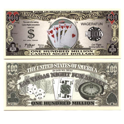 BILLETS HUMORISTIQUES -  POKER FLUSH ROYAL - BILLET DE 100 MILLION DE DOLLARS DES ETATS-UNI