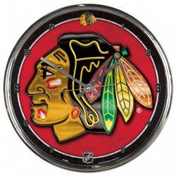BLACKHAWKS DE CHICAGO -  HORLOGE MURALE CHROMÉE (30 CM)