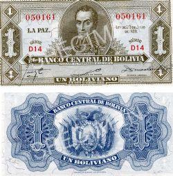 BOLIVIE -  1 BOLIVIANO 1928 (UNC)