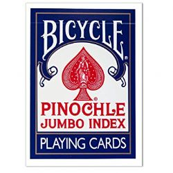 CARTES FORMAT POKER -  PINOCHLE INDEX JUMBO BLEU