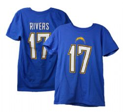 CHARGERS DE LOS ANGELES -  T-SHIRT DE PHILIP RIVERS #17 - BLEU (TRÈS GRAND)