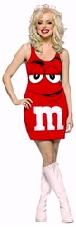 CHOCOLAT -  ROBE DE M&M ROUGE (ADULTE - TAILLE UNIQUE 4-10)