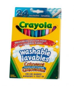 CRAYOLA -  24 MARQUEURS MINCES LAVABLES COLLECTION COLOSSALE