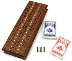 CRIBBAGE (3 TRACK SPRINT, STAINED TEAK WITH STORAGE)