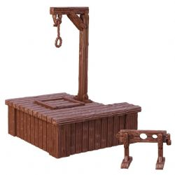 DÉCORS MINIATURES -  GALLOWS AND STOCKS -  TERRAIN CRATE