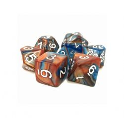 DARGON'S DICE -  ENSEMBLE 7 DÉS BLEU/OR SCRYING STONE