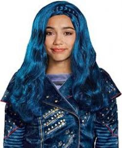 DESCENDANTS 2 -  PERRUQUE DE EVIE - BLEUE (ENFANT)