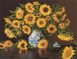 DIAMOND DOTZ -  SUNFLOWERS IN A CHINA VASE (INTERMÉDIAIRE, 28