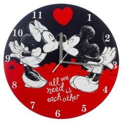 DISNEY -  HORLOGE MURALE MICKEY AND MINNIE MOUSE : ALL WE NEED IS EACH OTHER