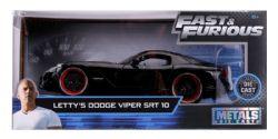DODGE -  LETTY'S DODGE VIPER SRT 10 1/24 - BLACK -  RAPIDE ET DANGEREUX
