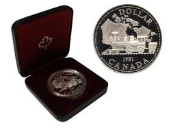 DOLLARS ÉPREUVES NUMISMATIQUES -  100E ANNIVERSAIRE DU CHEMIN DE FER PAN-CANADIEN -  PIÈCES DU CANADA 1981 11