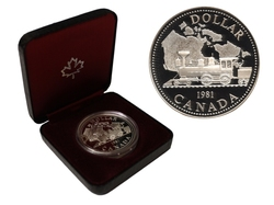 DOLLARS ÉPREUVES NUMISMATIQUES -  100E ANNIVERSAIRE DU CHEMIN DE FER PAN-CANADIEN -  PIÈCES DU CANADA 1981
