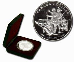 DOLLARS ÉPREUVES NUMISMATIQUES -  300E ANNIVERSAIRE DE L'EXPÉDITION D'HENRY KELSEY DANS L'OUEST -  PIÈCES DU CANADA 1990
