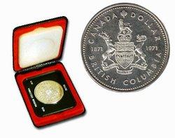 DOLLARS SPECIMENS -  LE CENTENAIRE DE LA COLOMBIE-BRITANNIQUE -  PIÈCES DU CANADA 1971 01