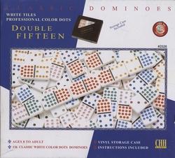 DOMINOS -  DOMINOS DOUBLE 15 - 136 PIÈCES (NUMÉRIQUES)