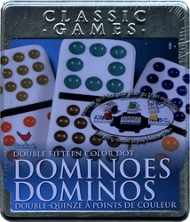 DOMINOS -  DOMINOS DOUBLE 15 (POINTS DE COULEUR) TRAIN MEXICAIN (BILINGUE)