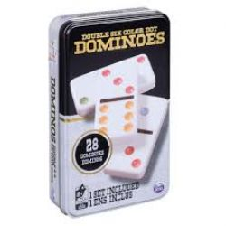 DOMINOS -  DOMINOS DOUBLE 6 (POINTS DE COULEUR) (BILINGUE)