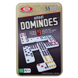 DOMINOS -  DOMINOS DOUBLE 9 (POINTS DE COULEUR) (BILINGUE)