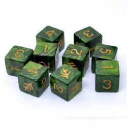 ELDER DICE -  LOVECRAFT ELDER SIGN GREEN - 9 D6