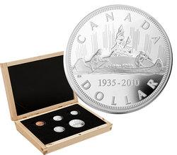 ENSEMBLES NUMISMATIQUES -  75E ANNIVERSAIRE DU PREMIER DOLLAR EN ARGENT - ÉDITION SPÉCIALE -  PIÈCES DU CANADA 2010