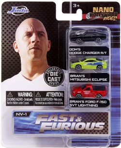 FAST & FURIOUS -  DOM'S DODGE CHARGER R/T & BRIAN'S MITSUBISHI ECLIPSE & BRIAN'S FORD F-150 SVT LIGHTNING 1/64 -  NANO HOLLYWOOD RIDES