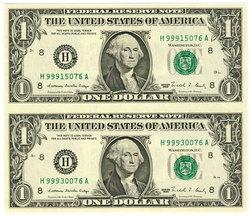 FEUILLE DE 2 BILLETS DE 1 DOLLAR AMERICAIN